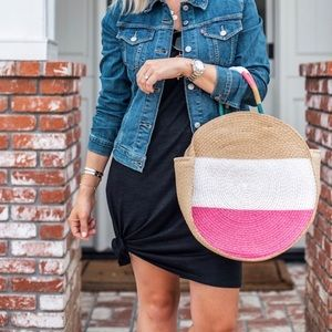 Circle Pink & White Straw Beach Vacay Tote